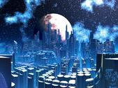 Futuristic Alien City built on Pylon Supports — Stock Photo