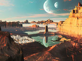 Alien Landscape with Futuristic Greek City — Stock Photo