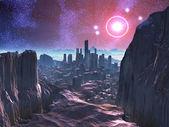 City Ruins on Hostile Alien Planet — Stock Photo