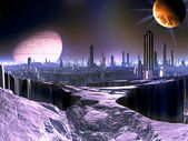 City on Dying Alien World with Satellite Ship in O — Stock Photo