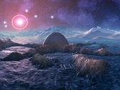 Abandoned Space Station on Hostile Alien Planet — Stock Photo