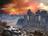 Two Temples in Valley on Alien World — Stockfoto
