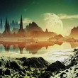 Stock Photo: Alien City Ruins beside Lake