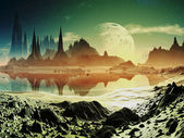 Alien City Ruins beside the Lake — Stock Photo