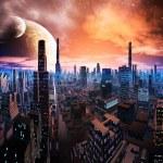 Neon Lit Cityscape on Distant World — Stock Photo #18801061