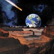 Asteroid Collision with Earth Viewed from Moon - Foto Stock