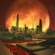 Future City on Lava Planet with Full Moon - Stock Photo
