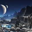 Stock Photo: Moonlit Alien Valley Canyon