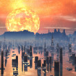 Flooded Future City with Red Giant Sun - Stock Photo