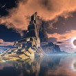Stock Photo: Futuristic Alien City at Lunar Eclipse