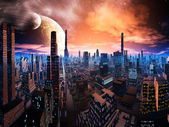 Neon Lit Cityscape on Distant World — Stok fotoğraf