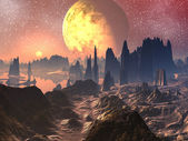 Sunrise or Sunset over Alien Landscape — Stock Photo