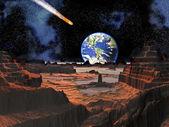 Asteroide choque con la tierra vista desde la luna — Foto de Stock