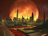 Future City on Lava Planet with Full Moon — Stock Photo