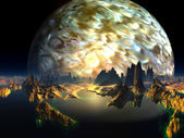 Distant View of Alien Ocean Reef with Gas Giant — Stock Photo