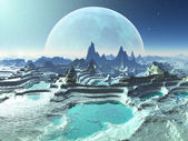 Rock Pools on Moonlit Alien Planet — Stock Photo