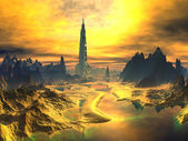 Futuristic Tower in Golden Alien Landscape — Stock Photo