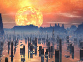 Flooded Future City with Red Giant Sun — Stock Photo