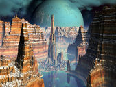 Futuristic Metropolis in Alien Canyon Valley — Stock Photo