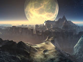 Alien City Ruins by Moonlight — Stock Photo