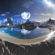 Water Planet Reflection in Alien Rock Pools - Stock Photo