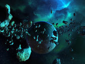 Asteroid Field and Nebula — Stock Photo