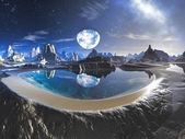 Water Planet Reflection in Alien Rock Pools — Stock Photo