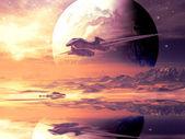 Flygsträcka av främmande rymdskepp över avlägsen planet — Stockfoto