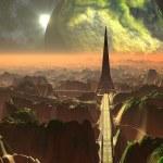Bird's Eye View of Alien Tower and Walkways — Stock Photo