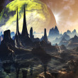 Alien City Ruins on Faraway Planet — Stock Photo