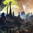 Alien City Ruins on Faraway Planet - Stock Photo