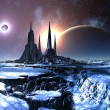 Lost Alien City in Snow - Stock Photo