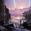 Violent Storm over Distant Alien City - Stock Photo