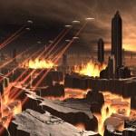 UFO Invasion of Futuristic City — Stock Photo