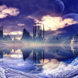 Stock Photo: Futuristic Alien City in Winter Landscape