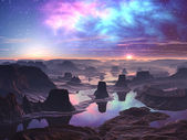 Gaseous Aurora over Mountainous Alien Landscape — Stock Photo