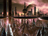 Futuristic Metropolis on Distant World — Stok fotoğraf