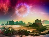Wurmloch über außerirdische welt — Stockfoto