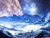 Distant Planet in the Grip of Winter — Stock Photo