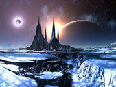 Lost Alien City in Snow — Stock Photo