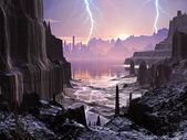 Violent Storm over Distant Alien City — Stok fotoğraf