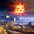 Alien Castle Fortress Under an Exploding Sun — Stock Photo