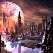 View of Futuristic City on Alien Planet - Stock Photo