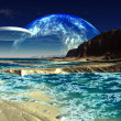 Flying Saucer Ship over Alien Sea Shore — Stock Photo #19088601