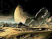 Astronave si è schiantato su un mondo alieno — Foto Stock