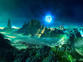 Alien Planet with Neutron Star — Stock Photo