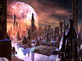 View of Futuristic City on Alien Planet — Stok fotoğraf