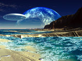 Flying Saucer Ship over Alien Sea Shore — Stock Photo