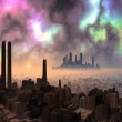 Two Ancient Alien Cities with Aurora Sky — Fotografia Stock  #19096857