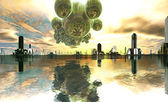 Nave-mãe alienígena sobre cidade futurista — Fotografia Stock